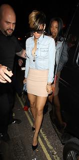 Rihanna Denim Shirt Celebrity Style Woman's Fashion