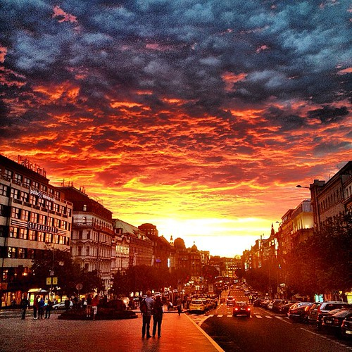 The Sunset.  #sorryhaters #sunset #street #prague #friday by Michael Sroubek