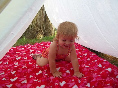 Phoebe in the tent