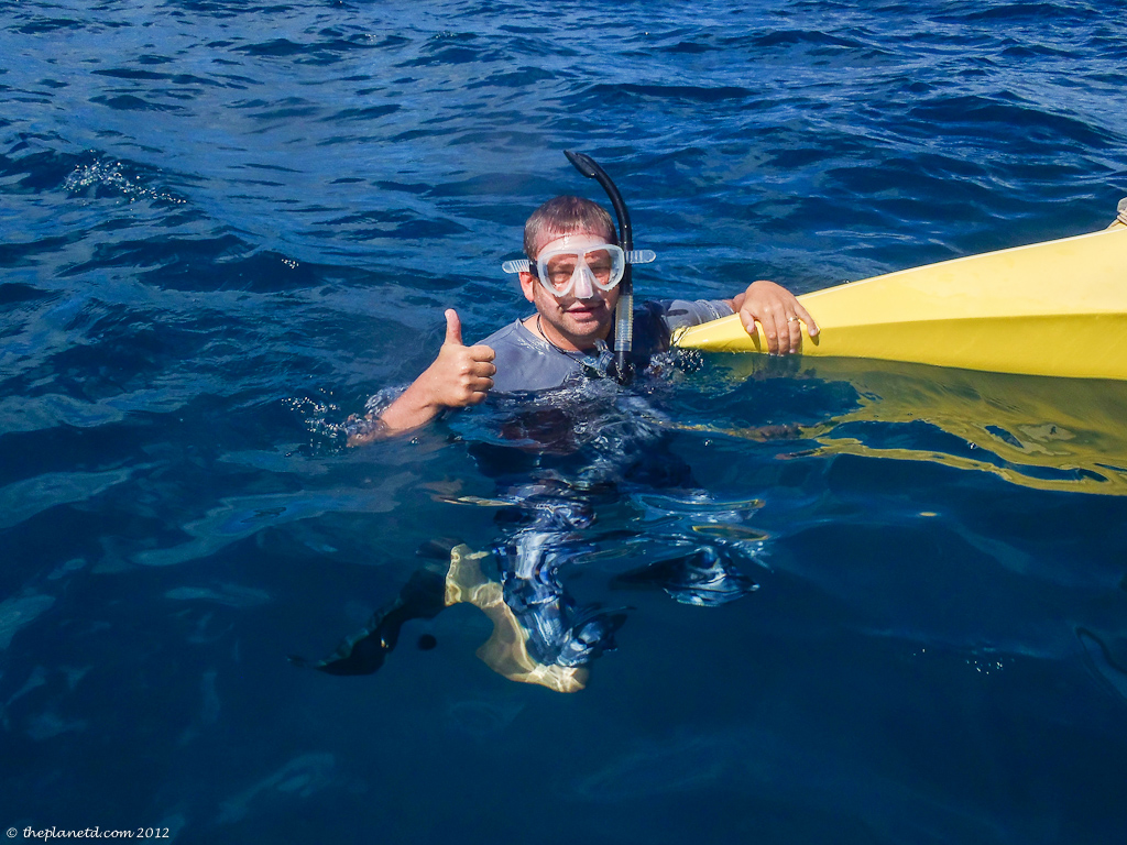adventure travel blogger Dave snorkelling in Maui
