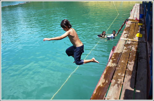 Jumping into the lake at Khao Sok