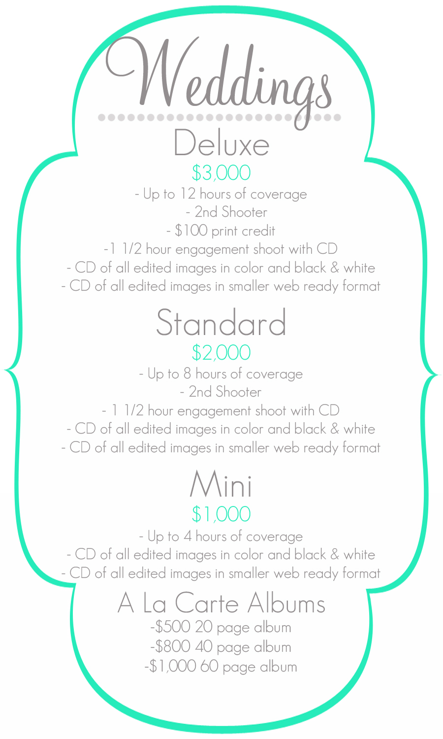 weddings pricing