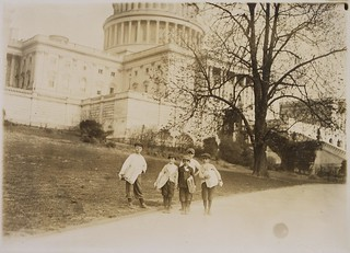 Photograph of news-boys selling near the Capitol building, April 1912