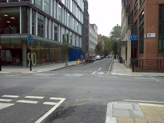 Maple Street/Whitfield Street facing south (note cycle parking)