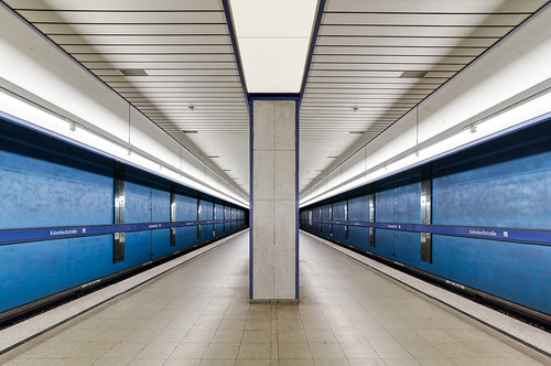 Subway Station in Blue and Whites