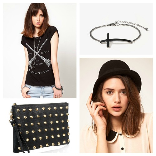 aw 2012 bowler hat, studded bag, cross bracelet
