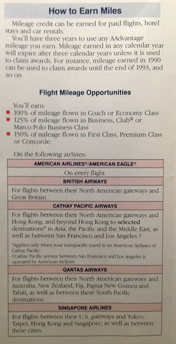 1990 American AIrlines AAdvantage membership guide. Earn miles.
