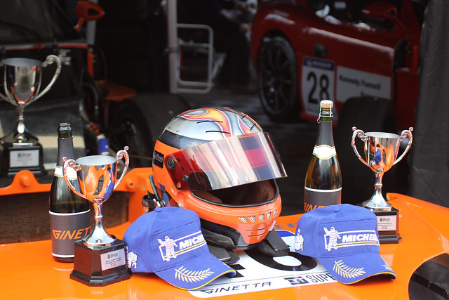 The Ginetta trophy at the BTCC support race at Donington Park in April 2012