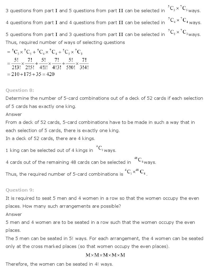 Worksheets Permutations And Combinations Worksheet With Answers ncert solutions for class 11th maths chapter 7 permutation and combinations aglasem schools
