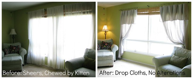 Before and After: Drop Cloth Curtains