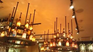 Upper House beer bottle chandelier