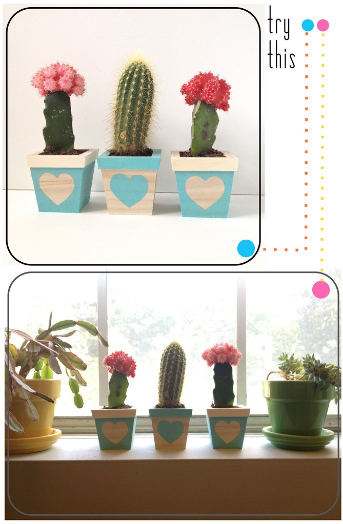 DIY Prickly Heart Succulent Planter Trio Tutorial by Fabric Paper Glue