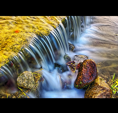 red water yellow rock photoshop landscape stream magenta ripples colourful hdr algea smallwaterfall canoneos50d matthewgilliamphotography hdrefexpro2