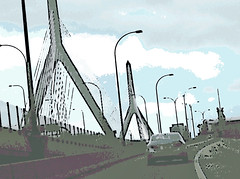 Heading into Boston (Digital Woodcut) by randubnick