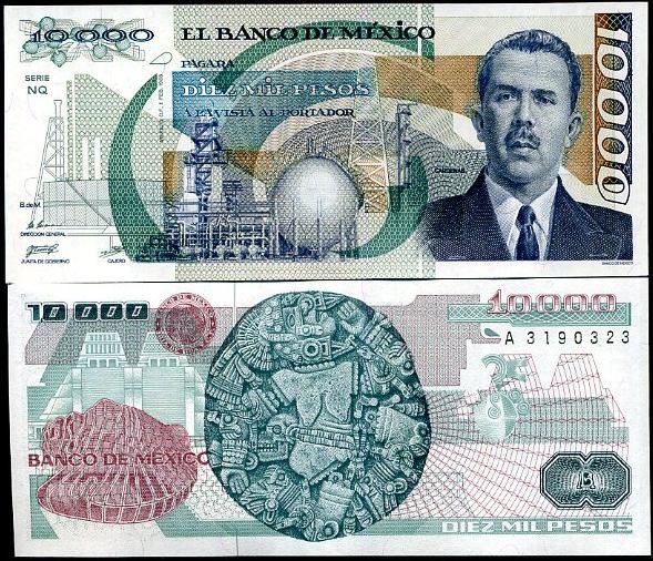 10 000 Pesos Mexiko 1988, Pick 90