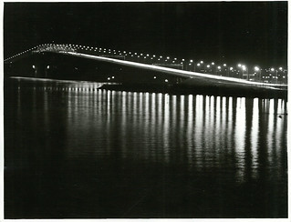 Night shots of traffic and car lights on the Auckland Harbour Bridge (1973)