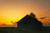 Lonely Barn House In The Summer Sunset