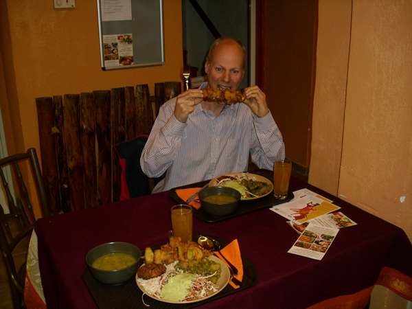 james eating at bharata
