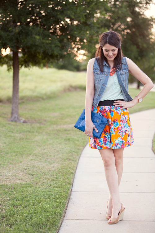 Denim Vest and Patterned Skirt