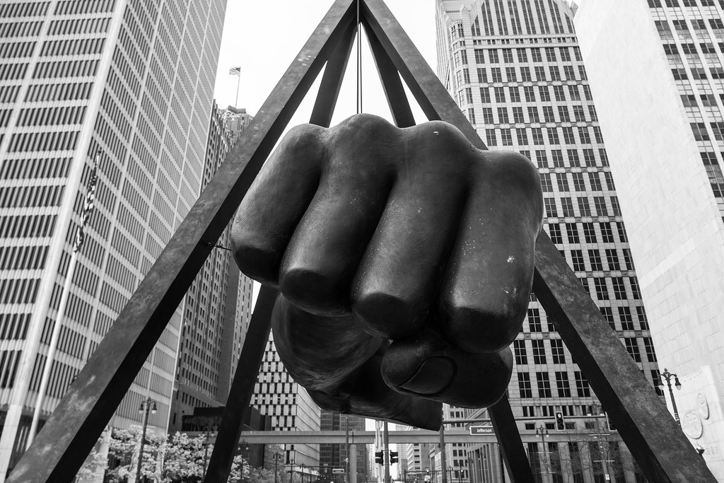 black and white image of joe louis' fist monument in detroit's hart plaza