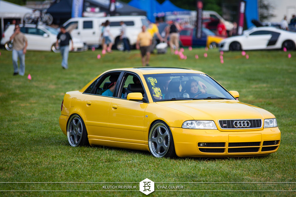 imola yellow b5 audi s4 static low on rare OZ wheels at southern worthersee 2012