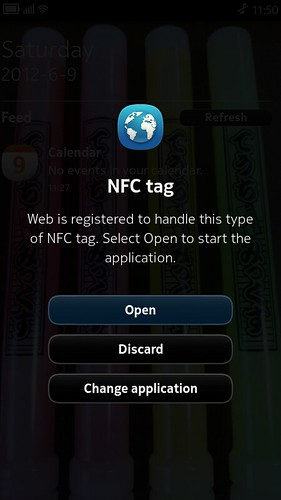 NFC tag Open to start the application