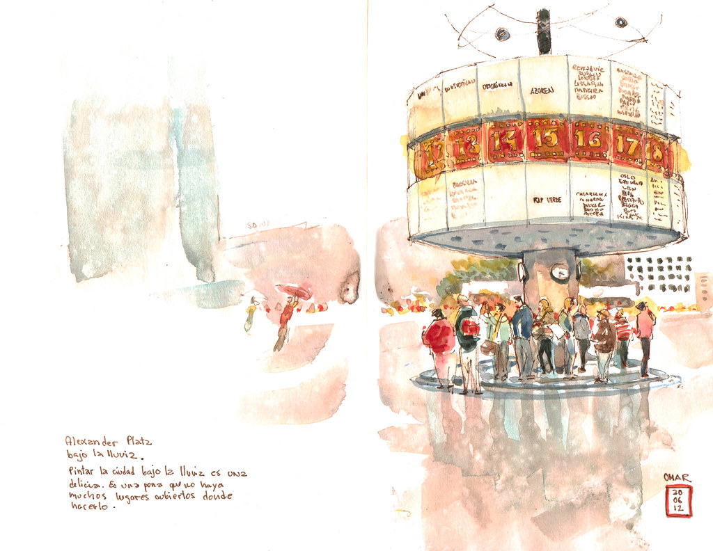 World Clock   Alexander Platz, Berlin  I love to paint rainy