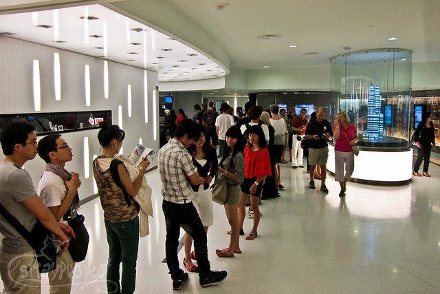 Line at the Skybridge Ticket Counter