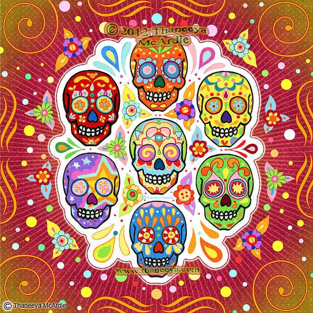 sugar skull art quotcolorful calaverasquot 169 thaneeya
