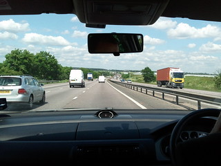 View from the van driving along the highway to Bury St Edmunds