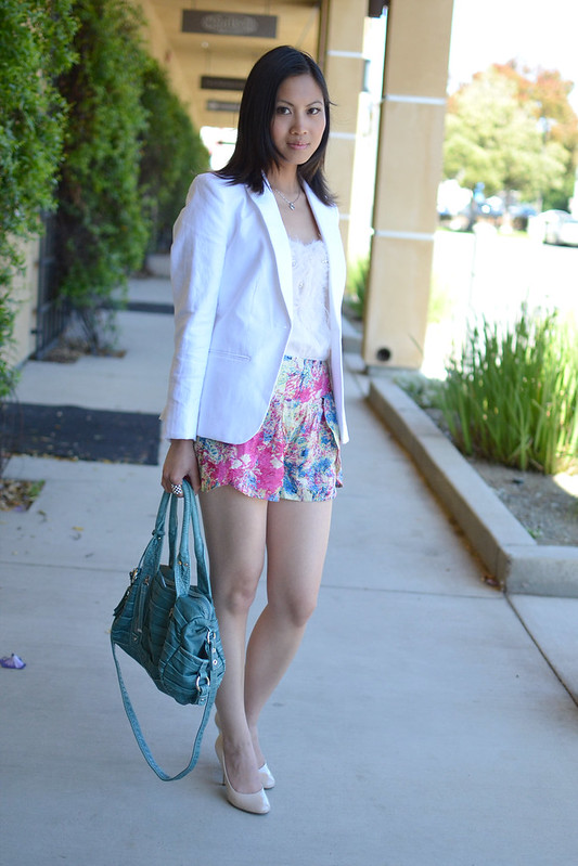 Colorful Sugarlips pink teal printed loose shorts with white blazer top