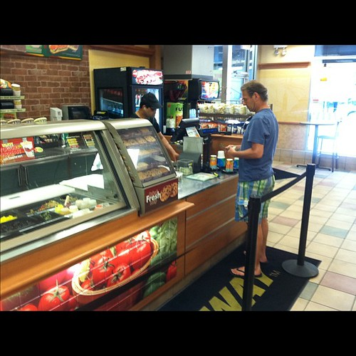 Picking up a footlong @Subway to put in the cooler!
