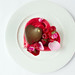 A heart-shaped Pavlova with chocolate and vodka mousse served to complement L'elisir d'amore © Royal Opera House Restaurants 2012