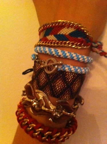 embellished friendship bracelet arm party
