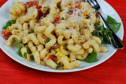 Summer pasta with corn, cherry tomatoes, basil & bacony onions by Eve Fox, Garden of Eating blog copyright 2012