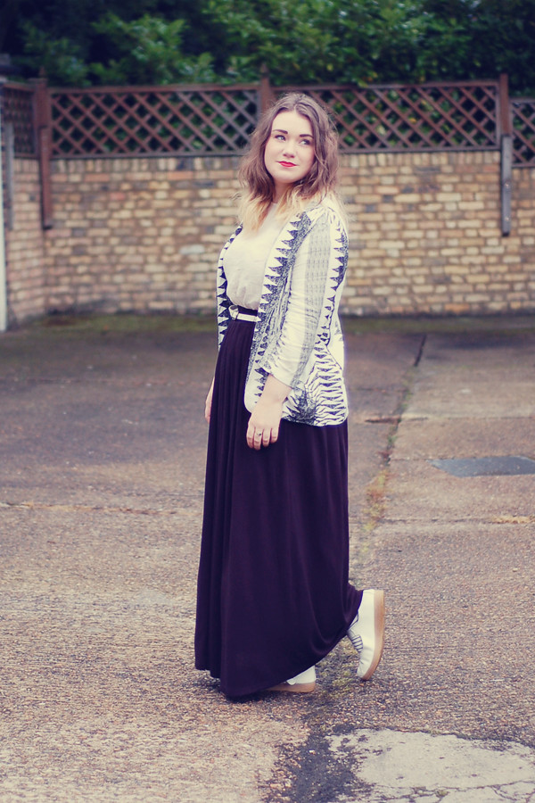 Wardrobeblock : Black and White monochrome Izabel aztec zebra blazer maxi skirt MAC ruby woo