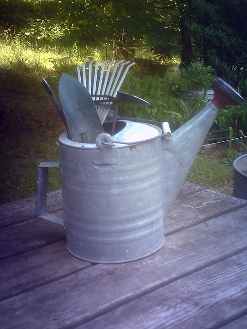 Garden tools in watering can flickr photo sharing for Gardening tools watering