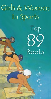green image that reads 89 Books About Girls & Women in Sports and shows women diving