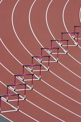 Hurdles on the track of the Olympic Stadium, London 2012