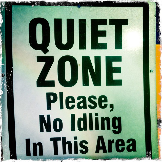 quiet zone please no idling in this area sign flickr