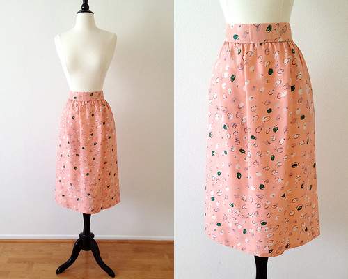 pale pink silk polka dot skirt