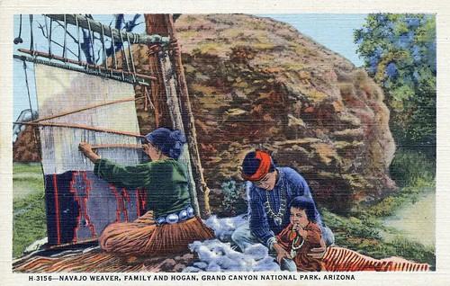Postcard: Navajo Weaver, Family and Hogan, Grand Canyon National Park, Arizona