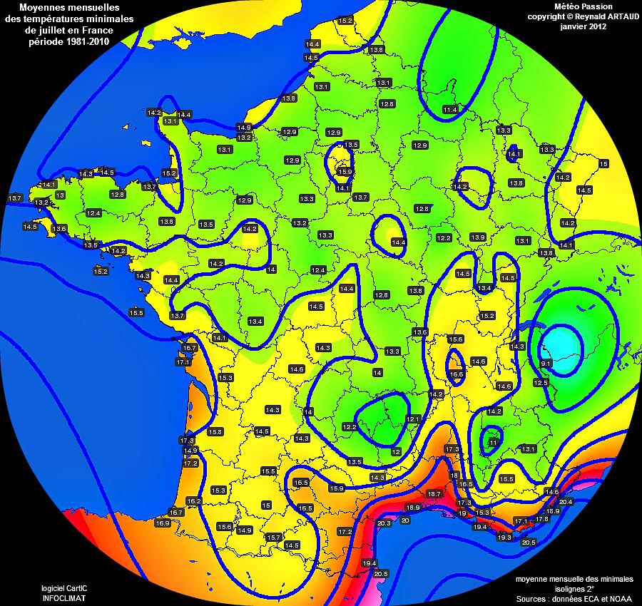Moyennes mensuelles des températures minimales pour le mois de juillet en France sur la période 1981-2010