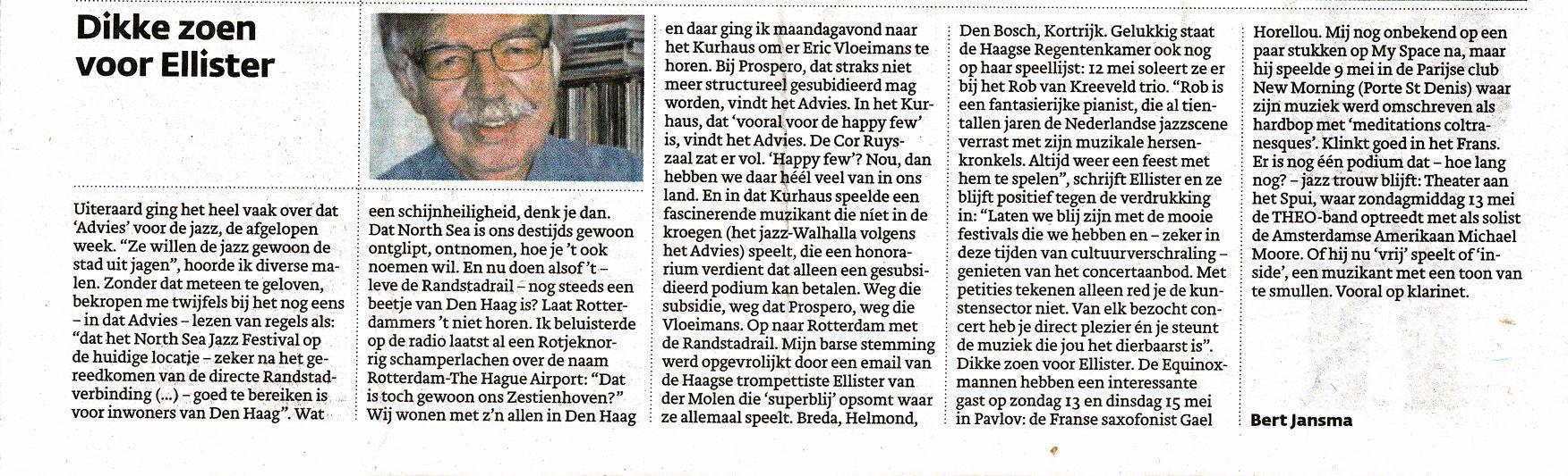 Den Haag Centraal - Dikke zoen van Bert (artikel)
