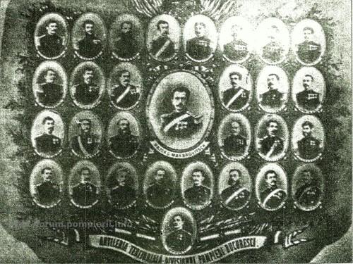 Ofiţerii Divizionului de pompieri Bucureşti -1877