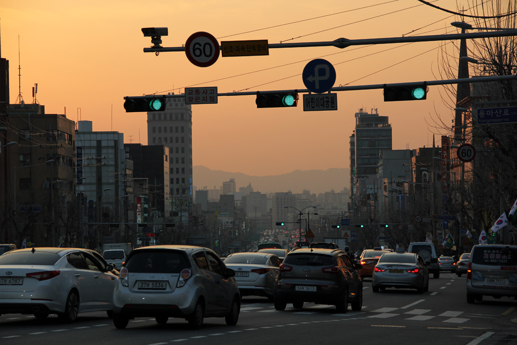 End of the day in Seoul, South Korea