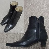 黒革5cmショートブーツ