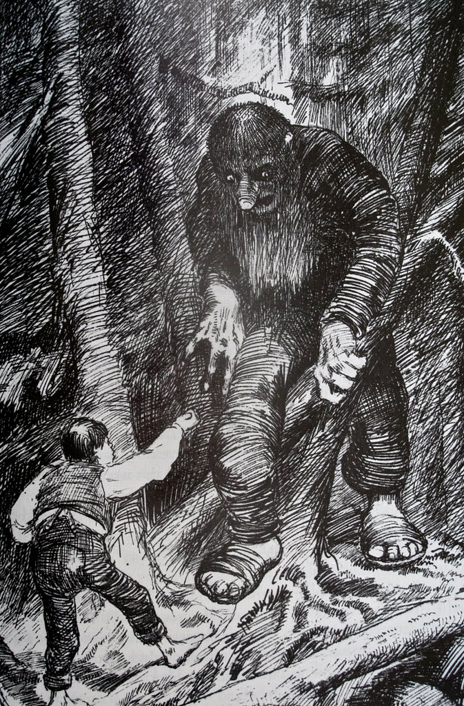 Theodor Kittelsen - The Ash Lad Who Had an Eating Match with the Troll, 1883