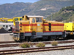 Shunting locomotive at the station of Taggia-Arma (Liguria, Italy)