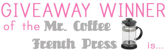 Giveway winner coffeepress